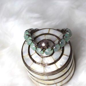 Turquoise Blue Colored Rhinestone Bracelet